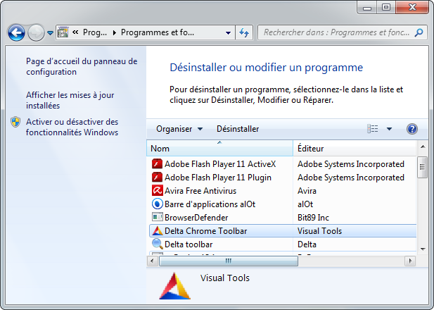Delta Search - Panneau de suppression de programme