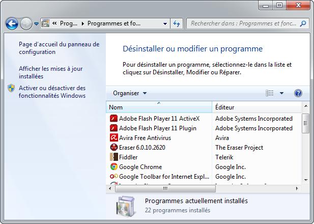 Désinstaller Internet Explorer