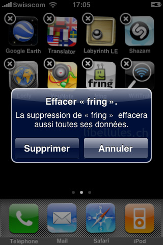 Supprimer une application iPhone