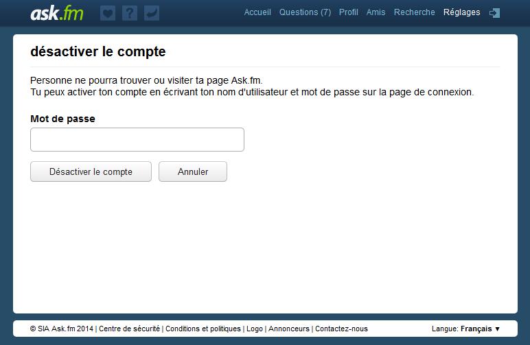 Désactiver votre compte Ask.fm