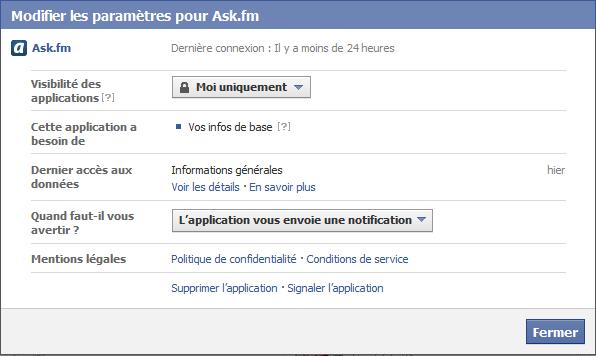 Supprimer Ask.fm de Facebook