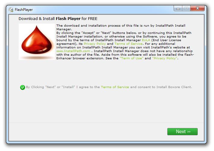 boxore installé par un faux Flash Player