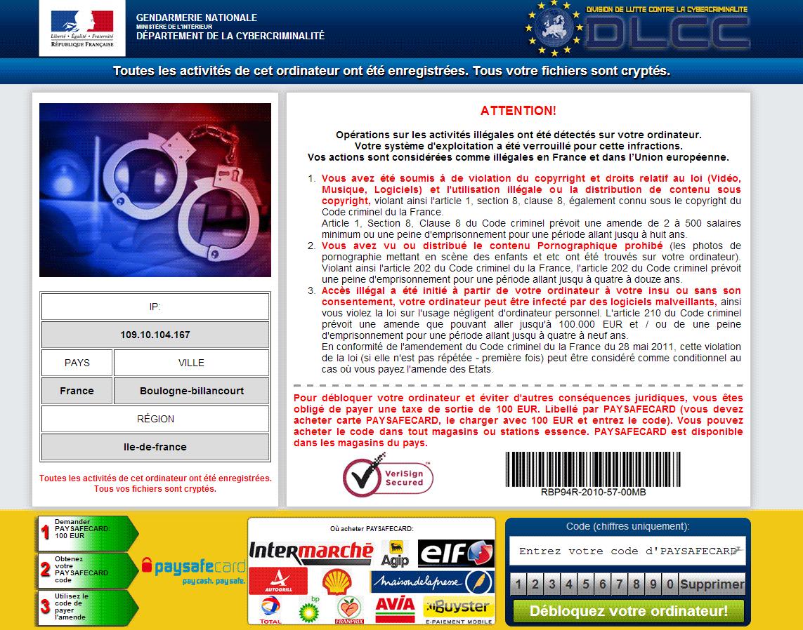 virus de la gendarmerie nationale