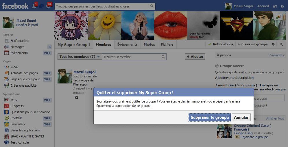 supprimer groupe facebook étape 2