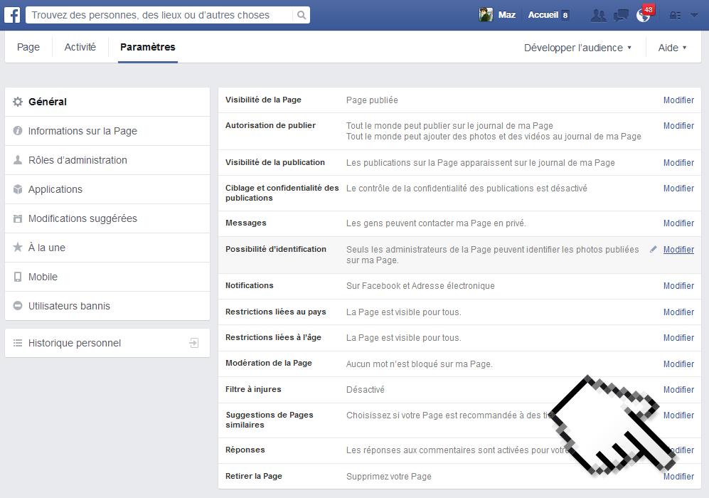 supprimer page facebook étape 2