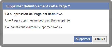 supprimer page facebook étape 4