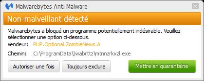 Zombie News bloqué par Malwarebytes Anti-Malware Premium