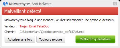 CTB Locker bloqué par Malwarebytes Anti-Malware Premium