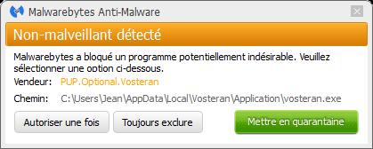 Vosteran détecté par Malwarebytes Anti-Malware Premium