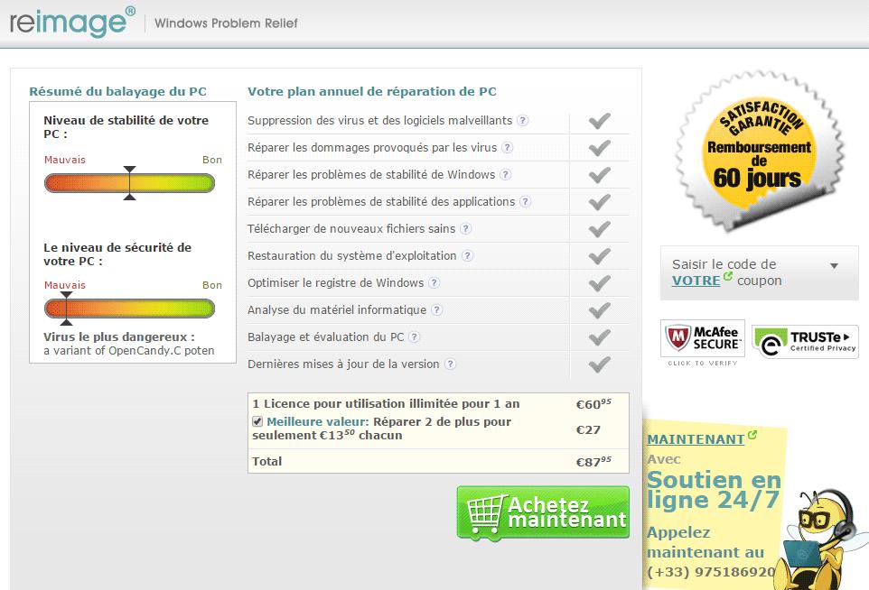 page web pour payer reimage repair