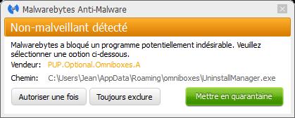 Omniboxes.com bloqué par Malwarebytes Anti-Malware Premium