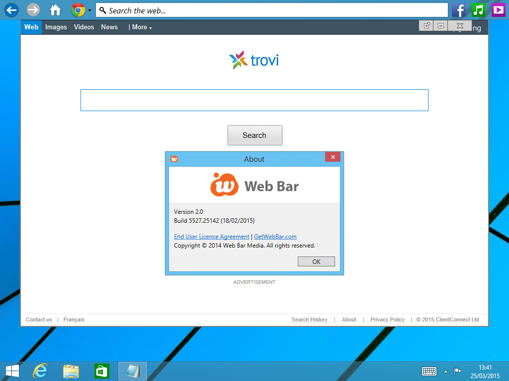 web bar sur windows