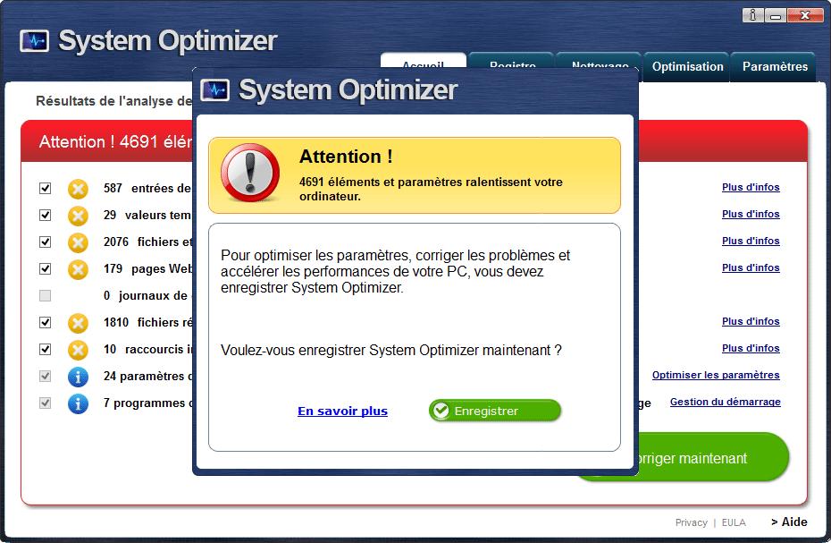system optimizer pousse à l'achat