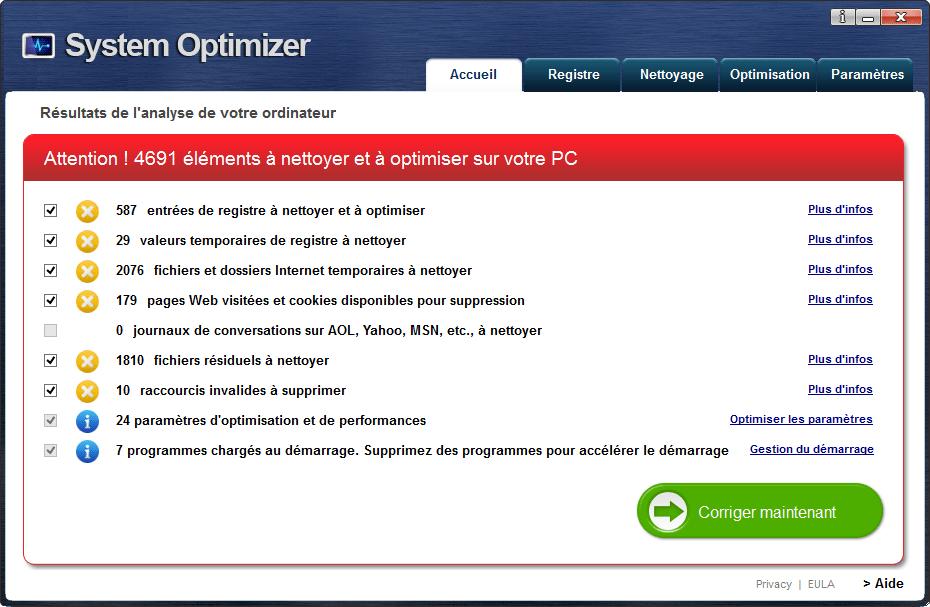 system optimizer détecte toujours des erreurs