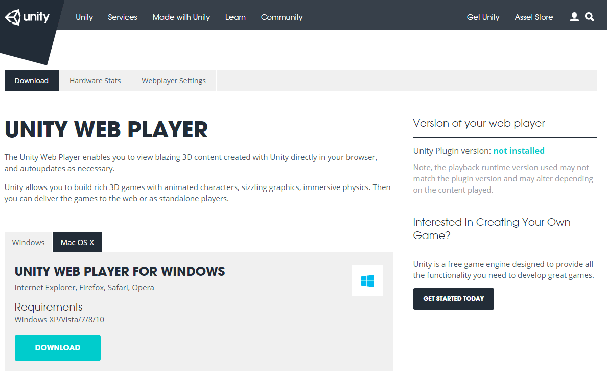 unity web player download