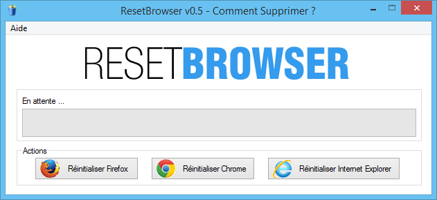 Comment supprimer Search Engine avec ResetBrowser